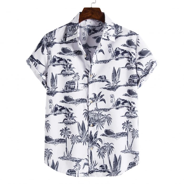 Black and White Palm Printed Shirt