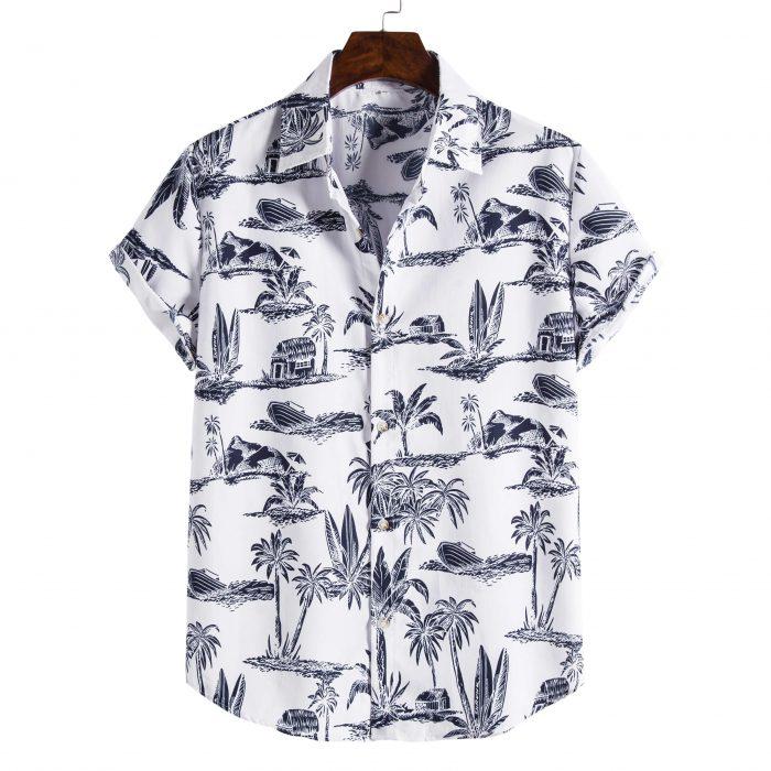 Black and White Palm Printed Shirt