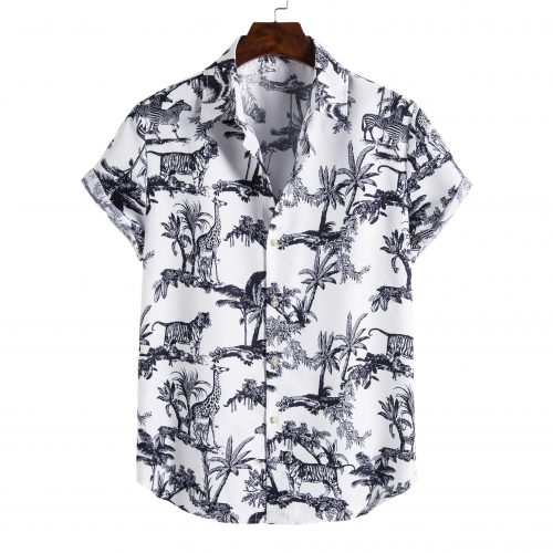 Shit Shirt - White Animal Patterned Shirt